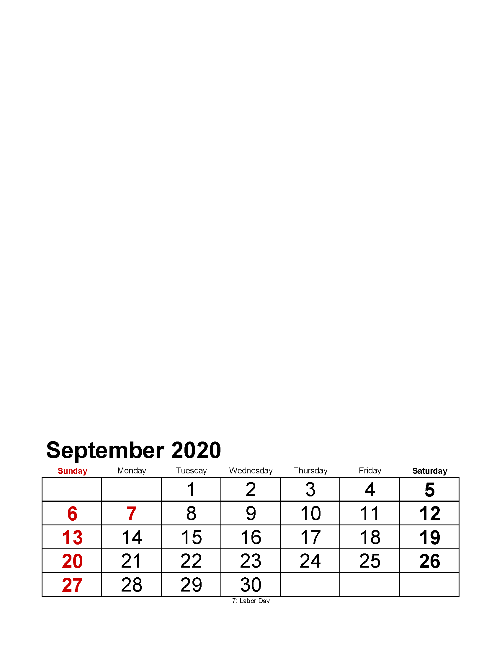 Printable September 2020 Photo Calendar with Holidays Large Numerals