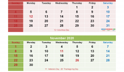 September October November December 2020 Calendar Printable Free Download