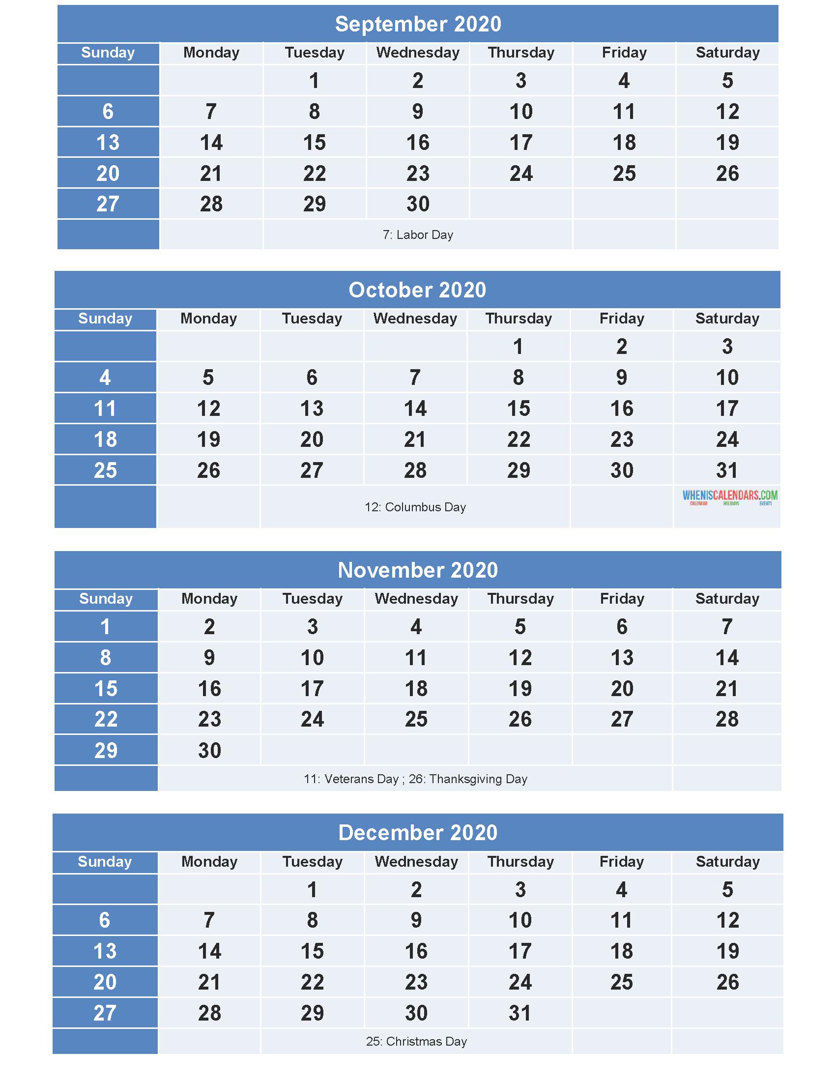 Printable Calendar 2020 September October November ...