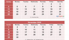 September October November December 2020 Calendar with Holidays for Free