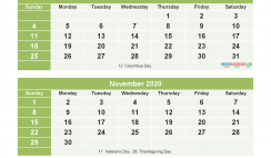 September to December 2020 Calendar Printable Free Download
