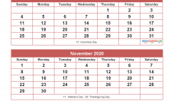 Calendar 2020 September October November December as Word