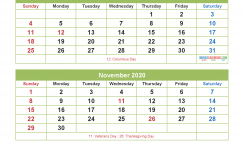 September October November December 2020 Calendar with Holidays