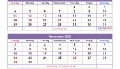 Printable Calendar 2020 September to December as Word