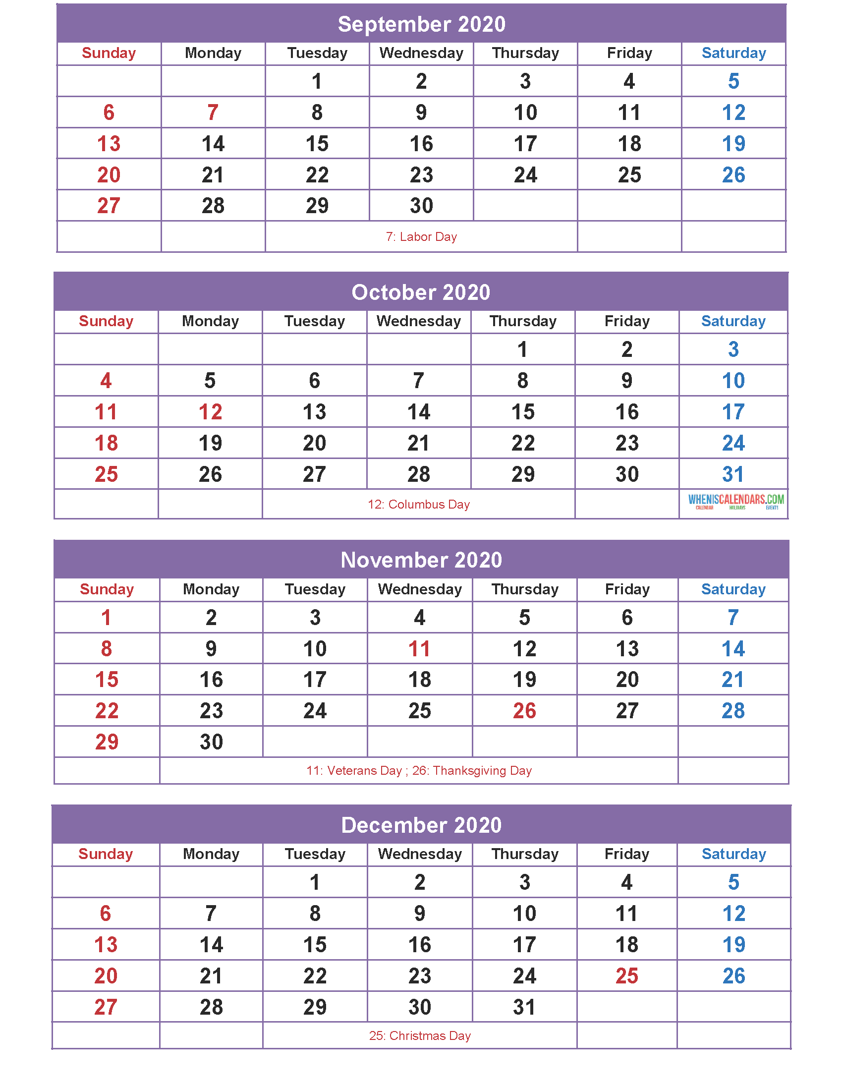 Printable Calendar 2020 September to December as Word, PDF ...
