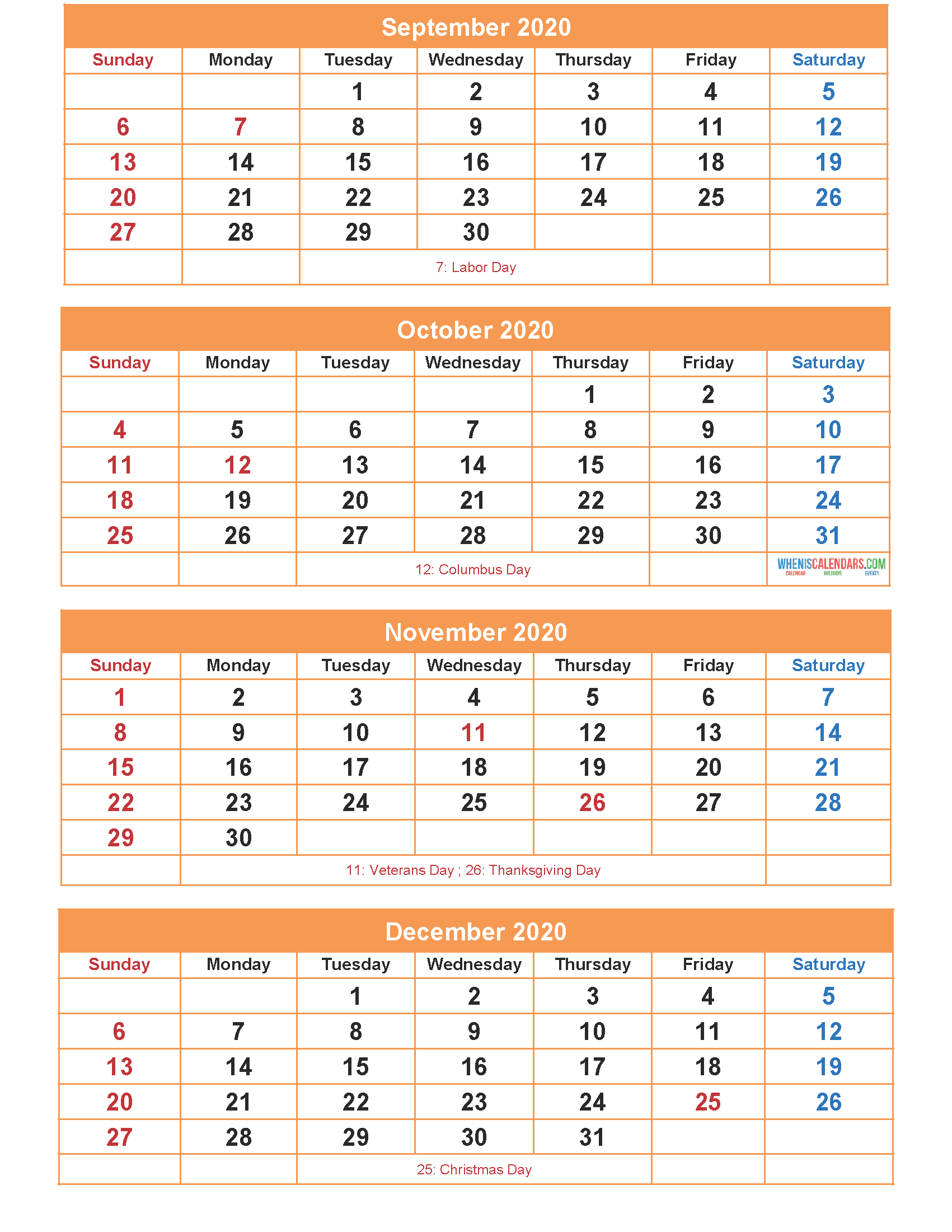 Free Calendar 2020 September October November December Printable