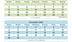 Printable Calendar 2020 September October November December Word