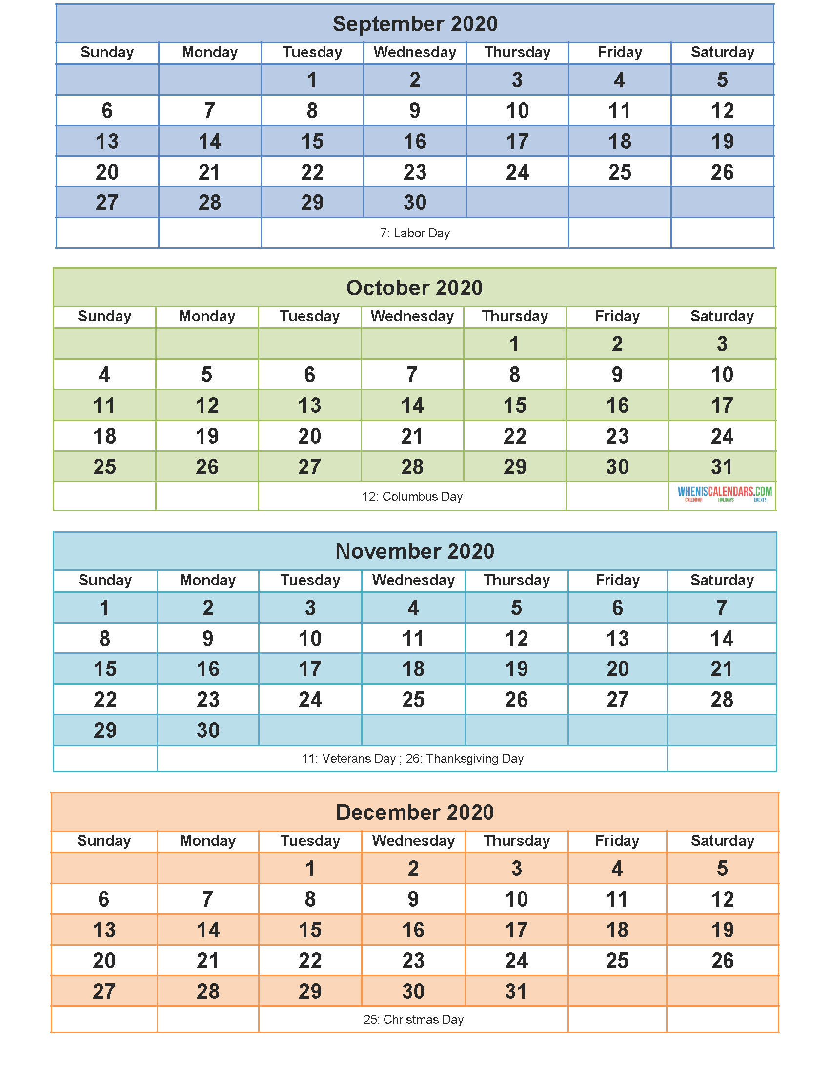 Printable Calendar 2020 September October November ...
