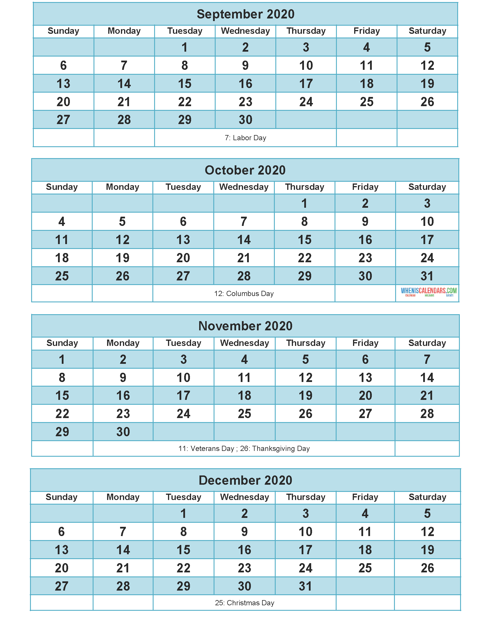 Printable Calendar 2020 September October November December Word, PDF, Image