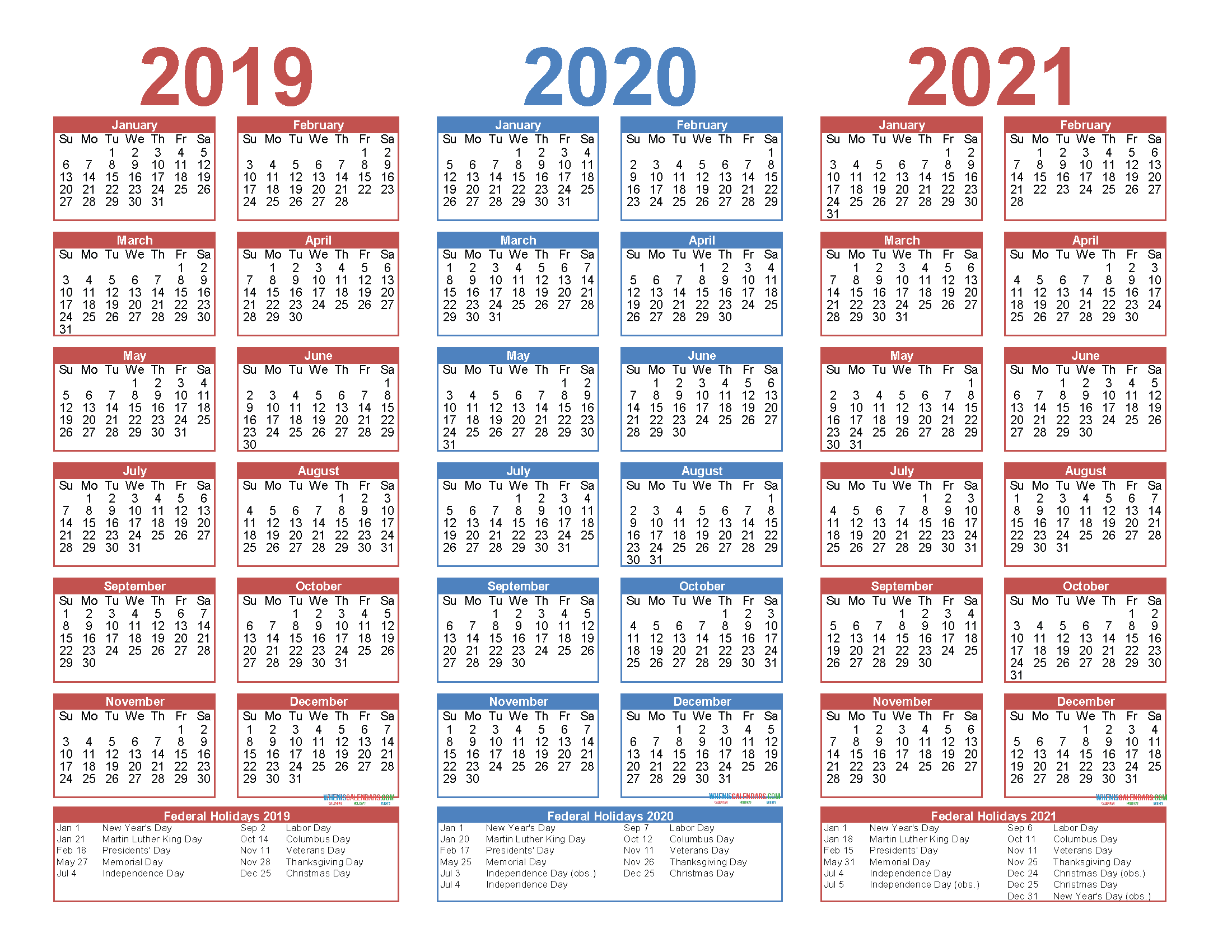 2019 2020 and 2021 Free Printable Calendar with Holidays