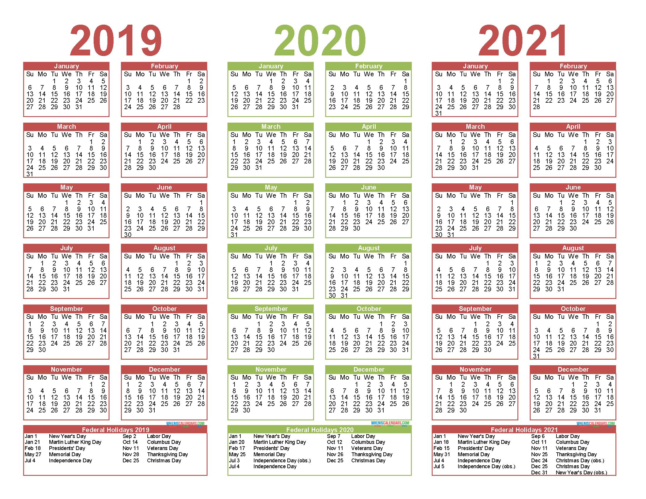 2019 to 2021 Calendar Printable Free PDF, Word, Image