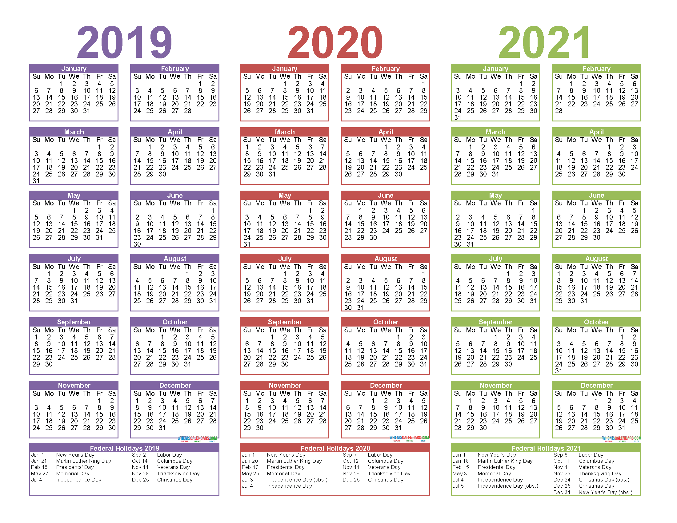 Free Printable 2019 2020 and 2021 Calendar with Holidays