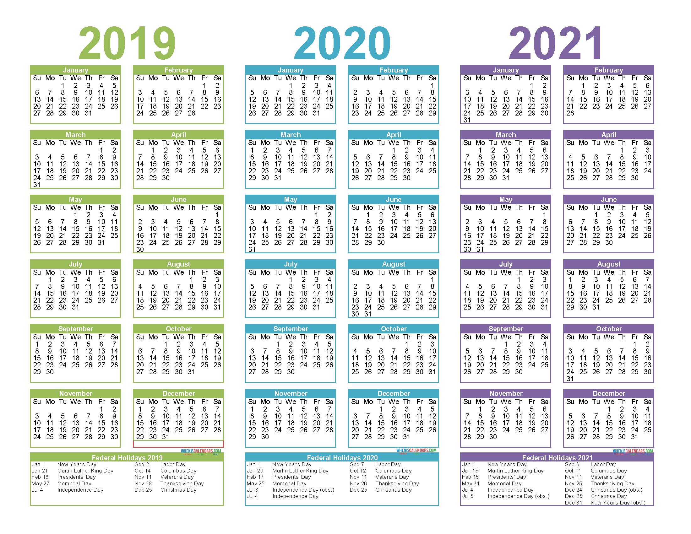 Printable Calendar 2021 And 2019 2019 to 2021 3 Year Calendar Printable Free PDF, Word, Image