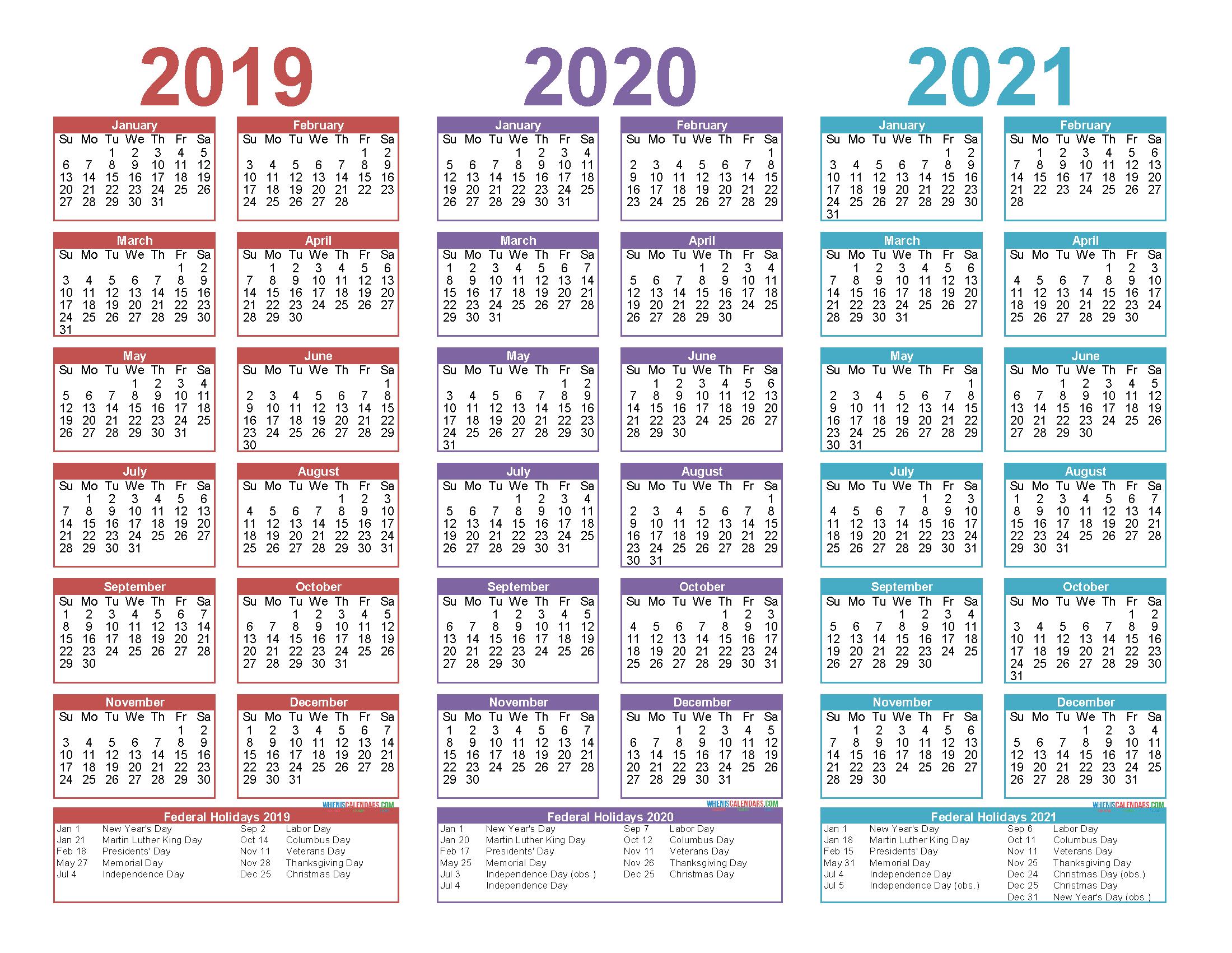 2019 to 2021 Free Calendar Template 3 Year Calendar ...