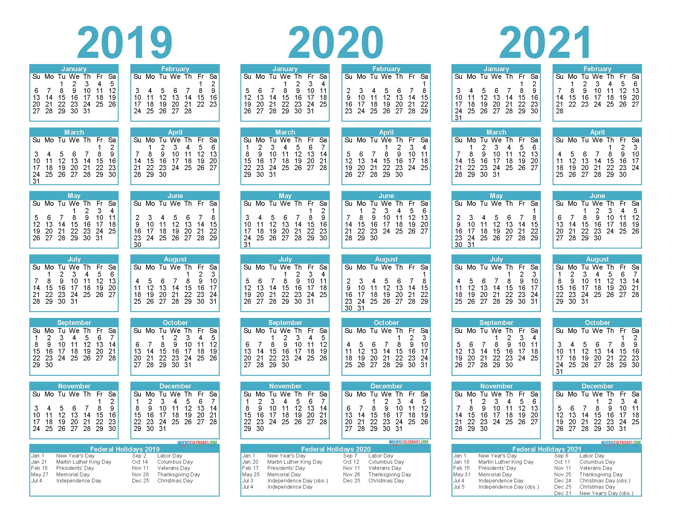2019 and 2020 and 2021 Calendar Printable PDF, Word - Free ...