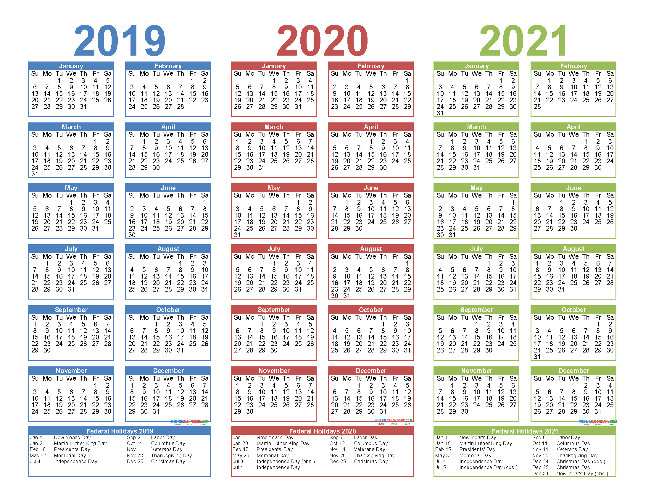 Pictures of 3 Year Calendar 2021 To 2021