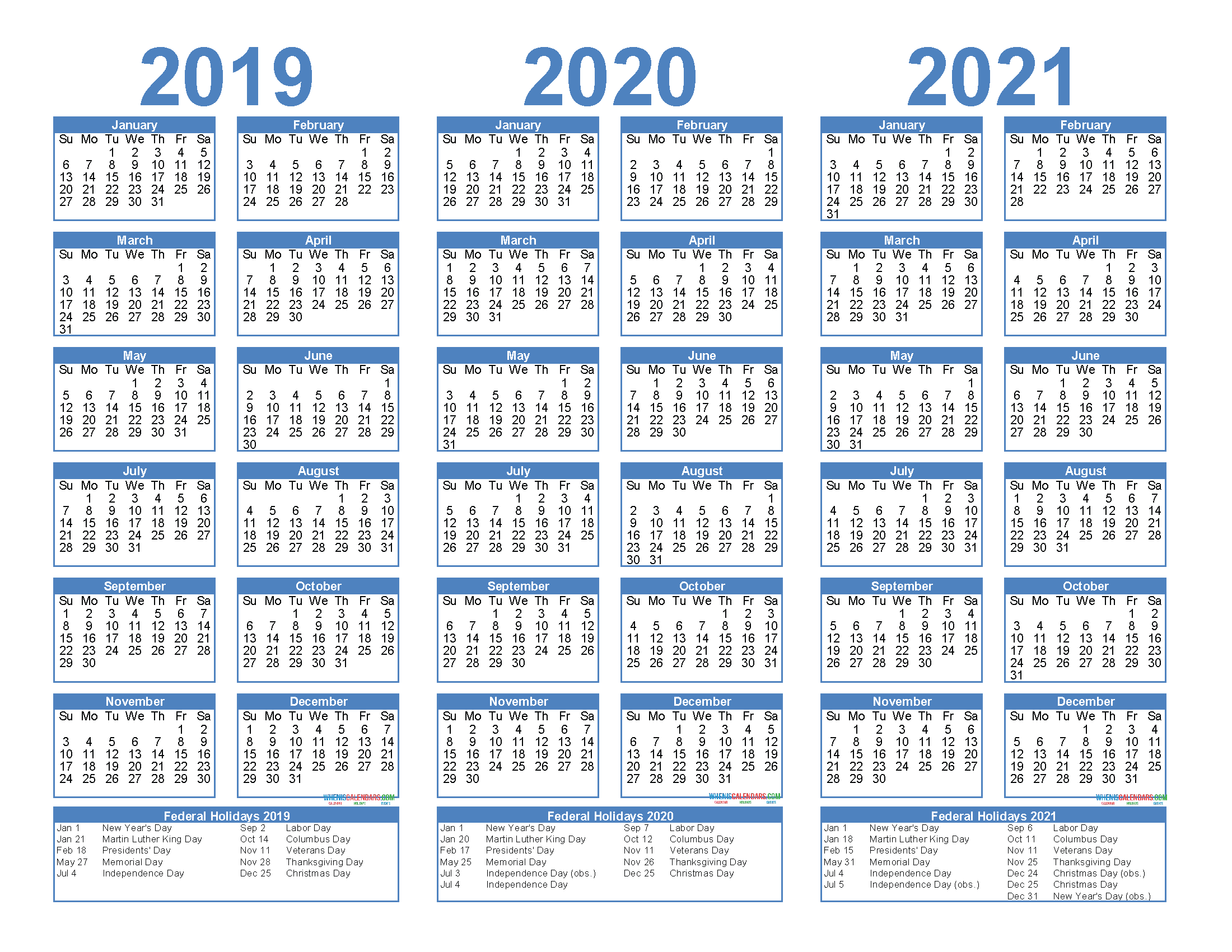 2019 to 2021 Calendar Printable Free PDF, Word, Image ...