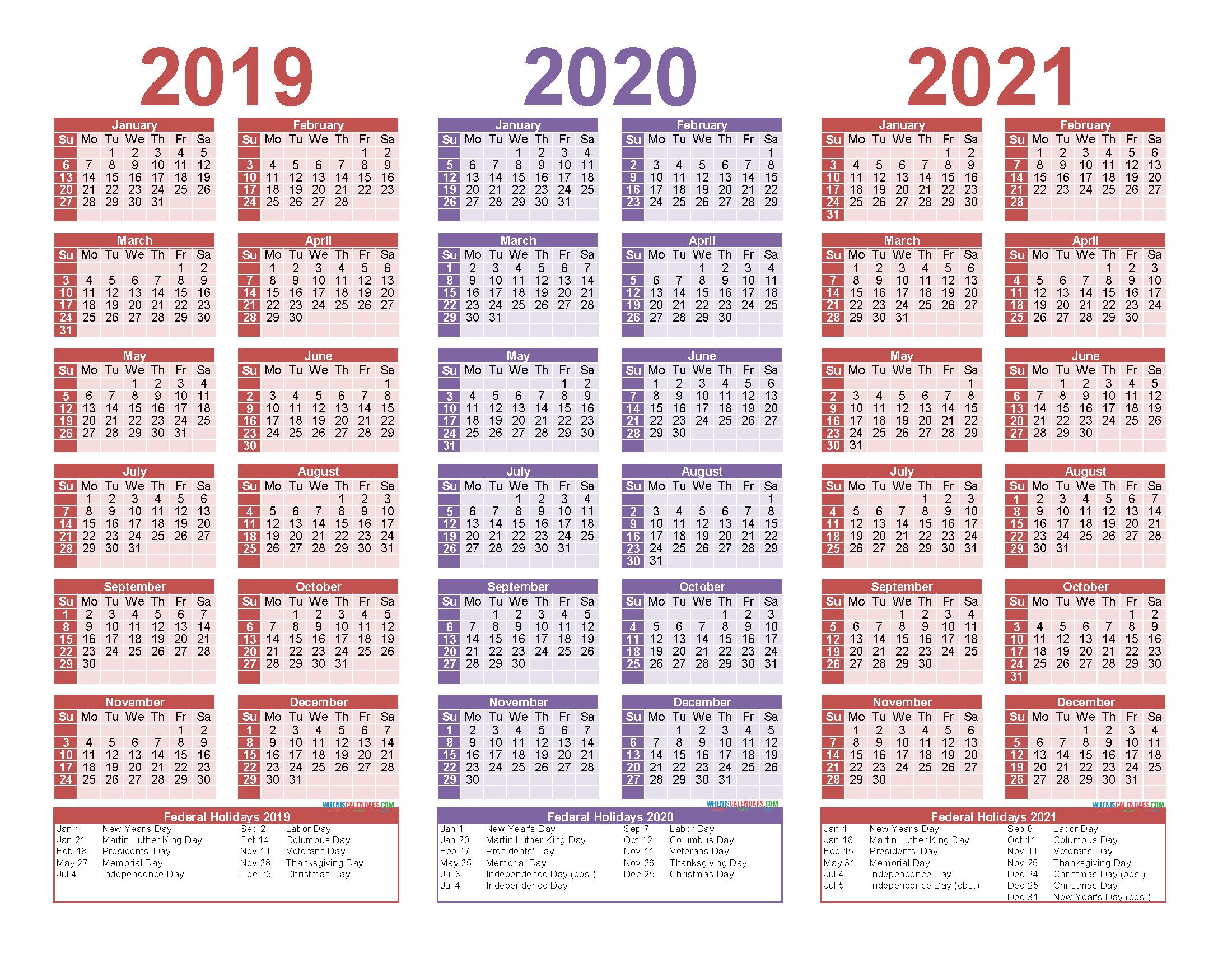 Printable Calendar 2019 And 2020.2019 And 2020 And 2021 Calendar Printable Pdf Word Free