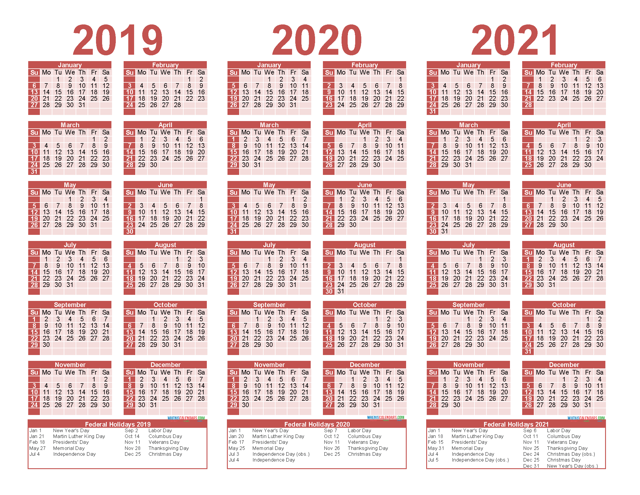 3 Year Calendar 2019 to 2021 Printable with Holidays