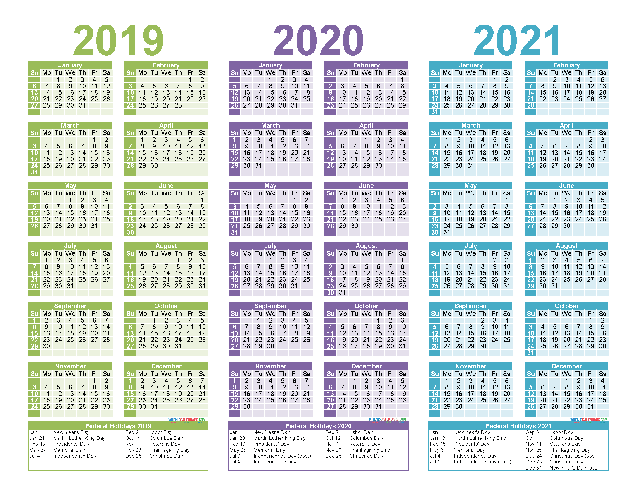 2019 and 2020 and 2021 Calendar Printable PDF, Word