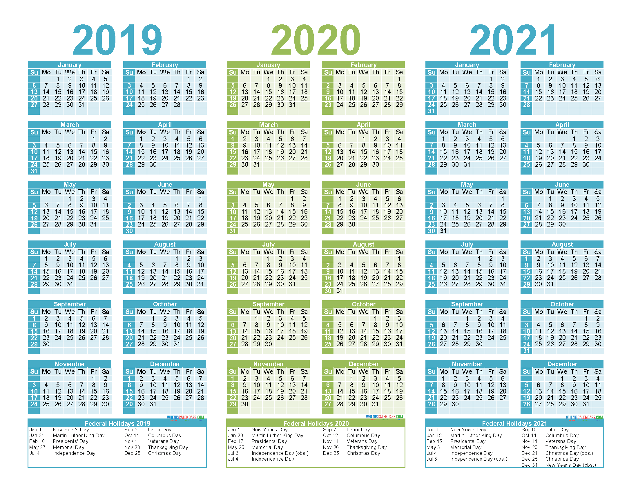 2019 to 2021 3 Year Calendar Printable Free PDF, Word ...