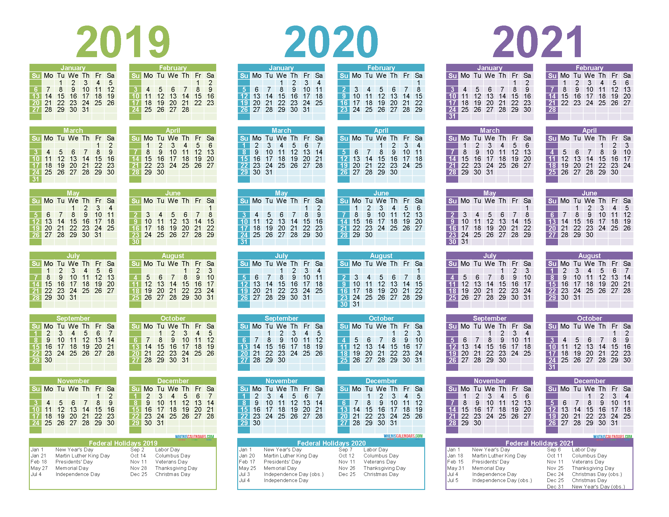Free Printable 2019 2020 2021 Calendar with Holidays