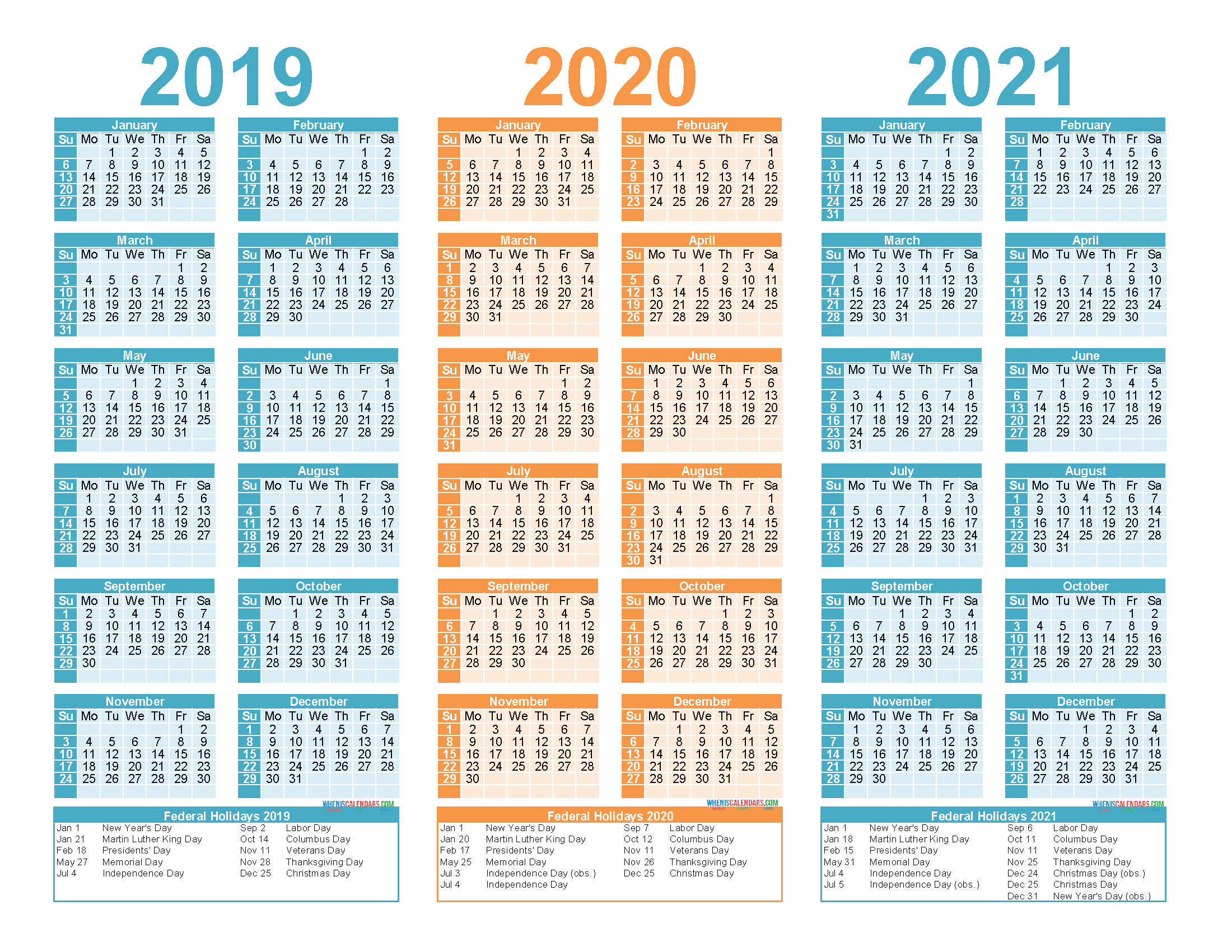 2019 2020 and 2021 Free Printable Calendar with Holidays ...