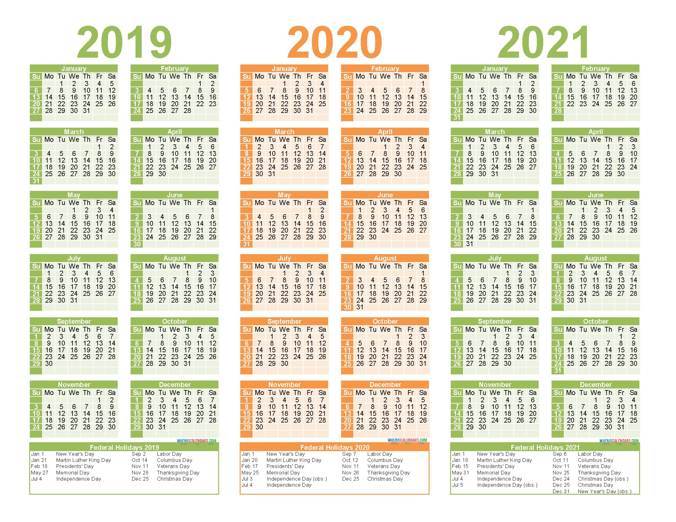 2019 to 2021 Calendar Printable Free PDF, Word, Image