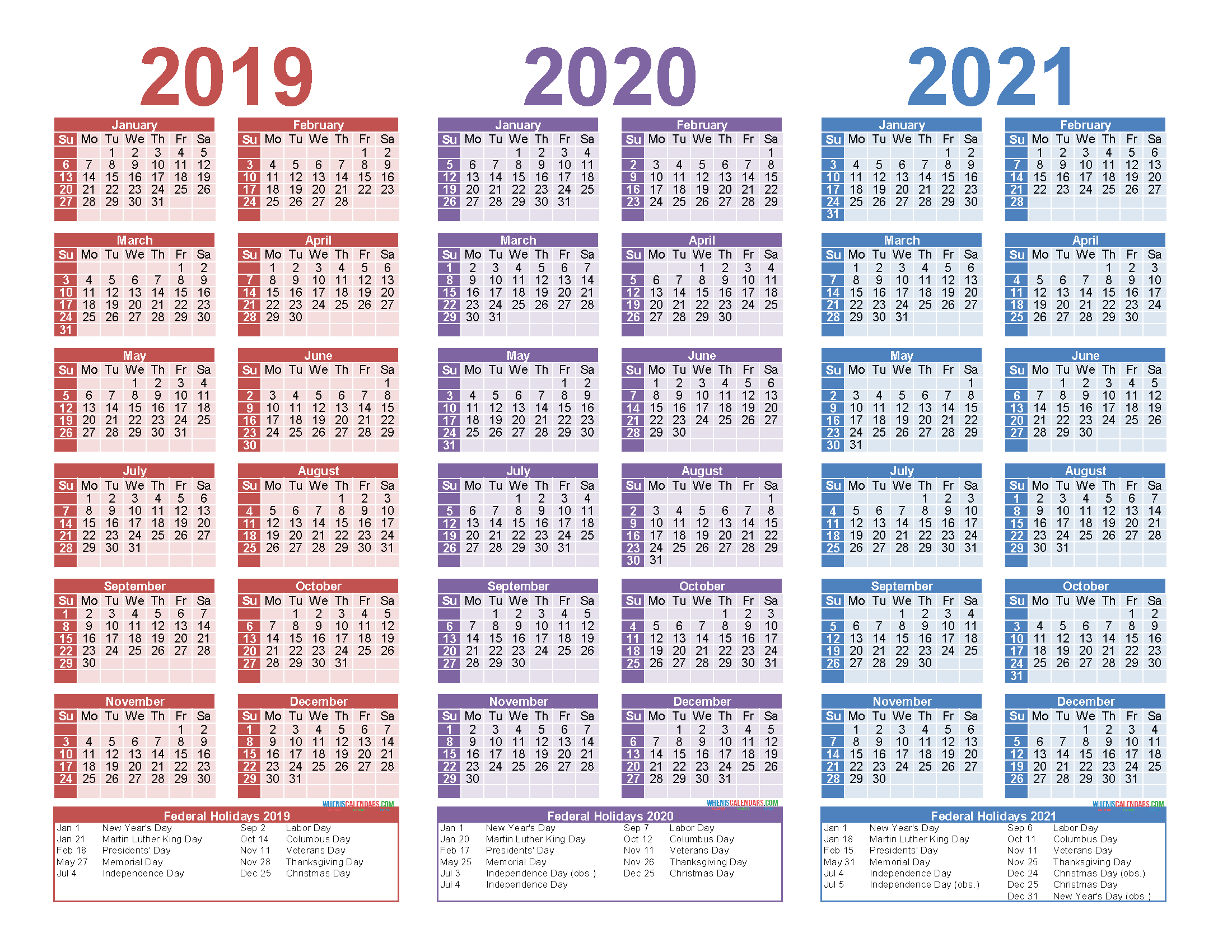 Free Printable 2020 2021 Calendar.Free Printable 2019 2020 2021 Calendar With Holidays Free