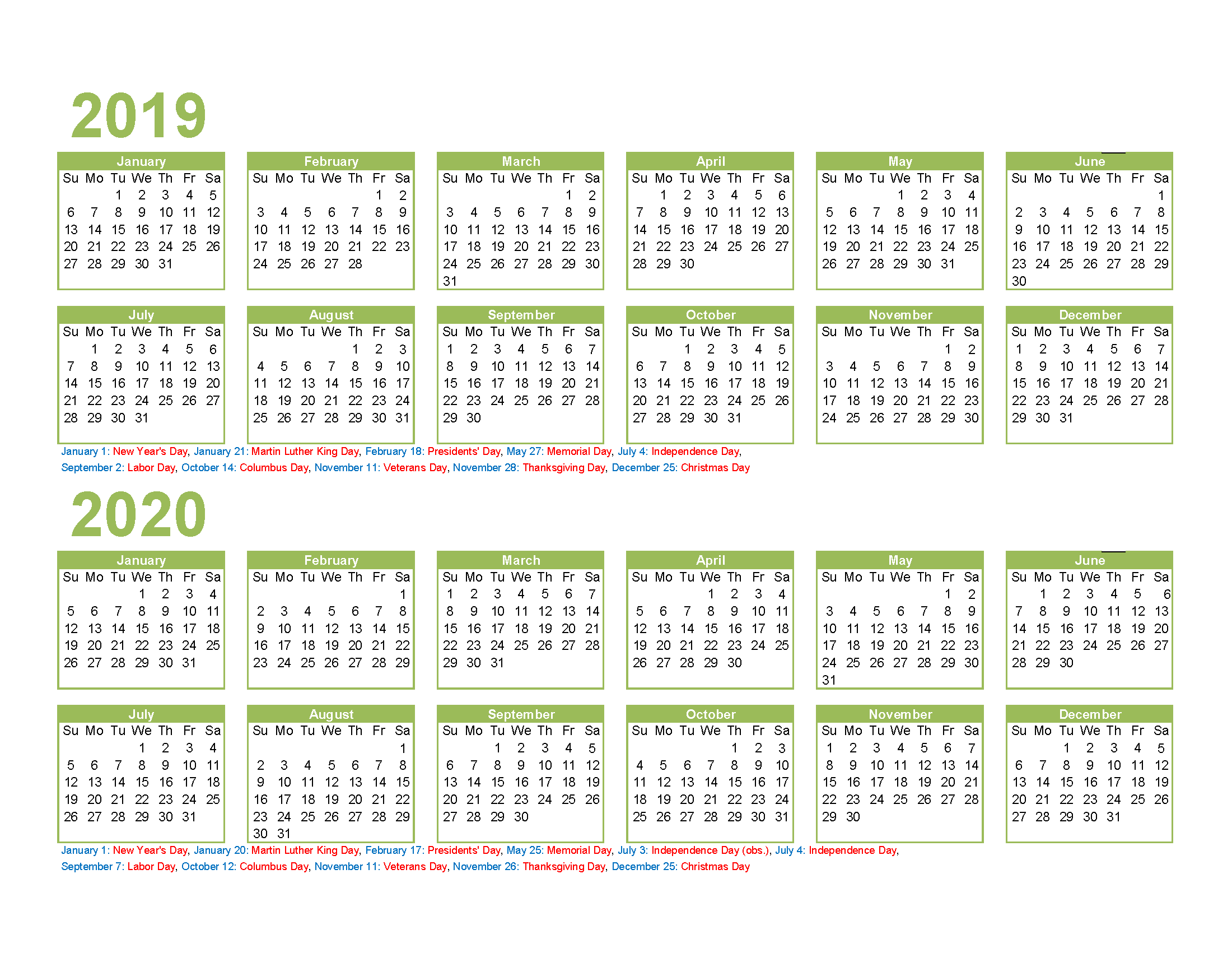 Free Printable 2019 and 2020 Calendar with Holidays