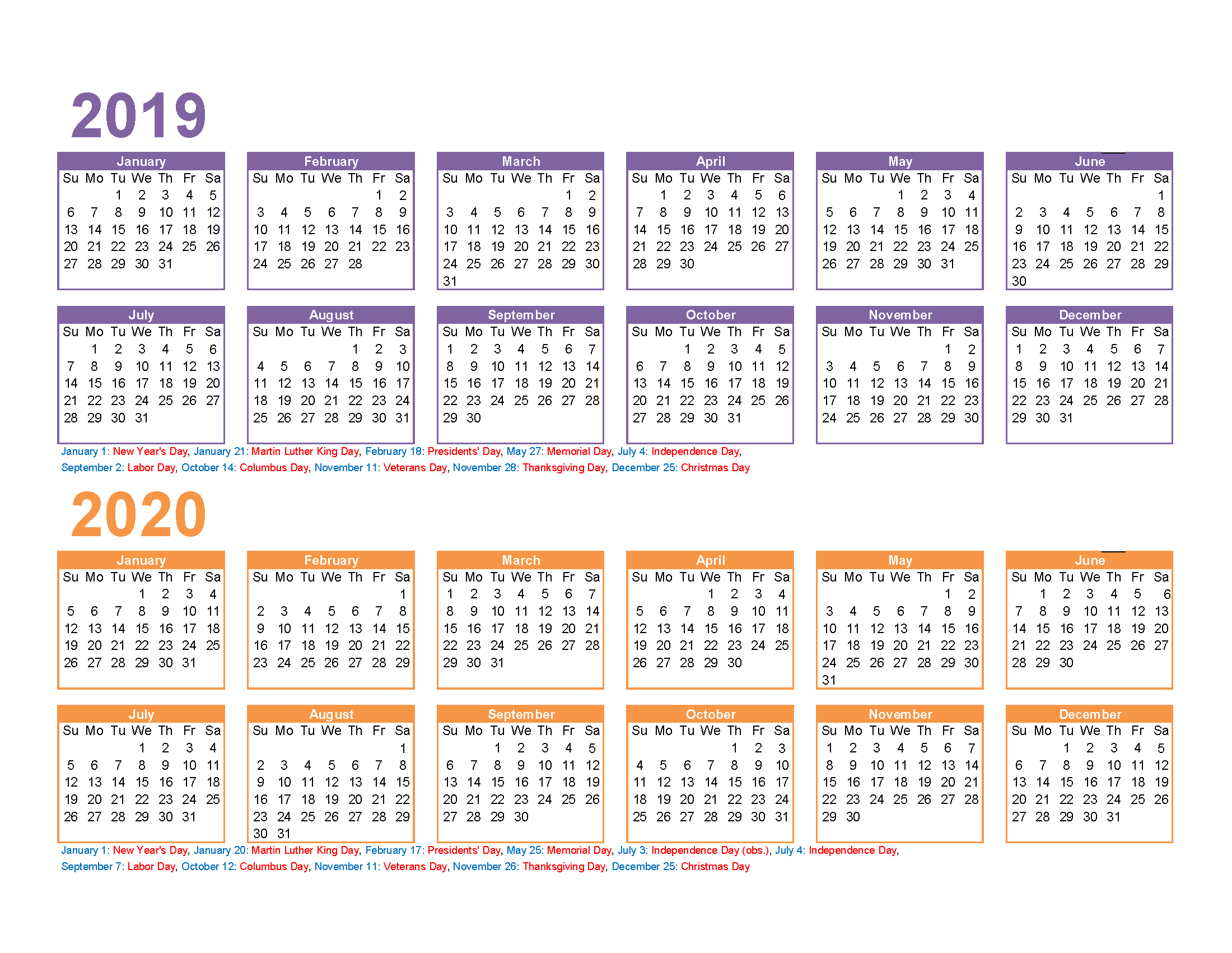 Free 2019 and 2020 Calendar Printable 2 Year Calendar
