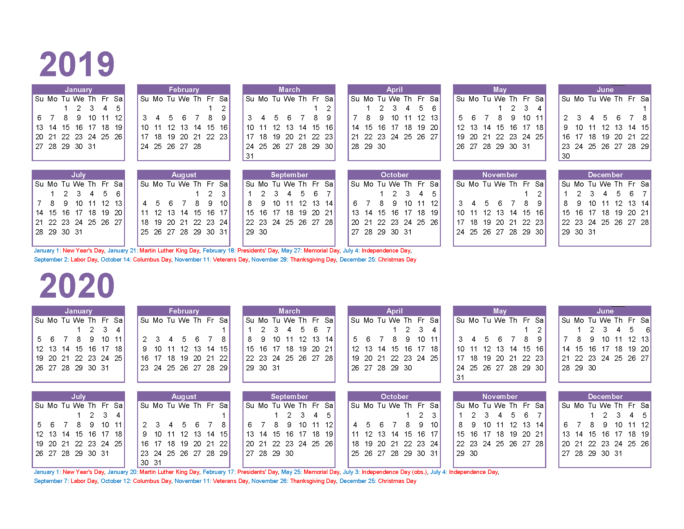 2019 and 2020 Calendar Printable Excel, PDF, Image