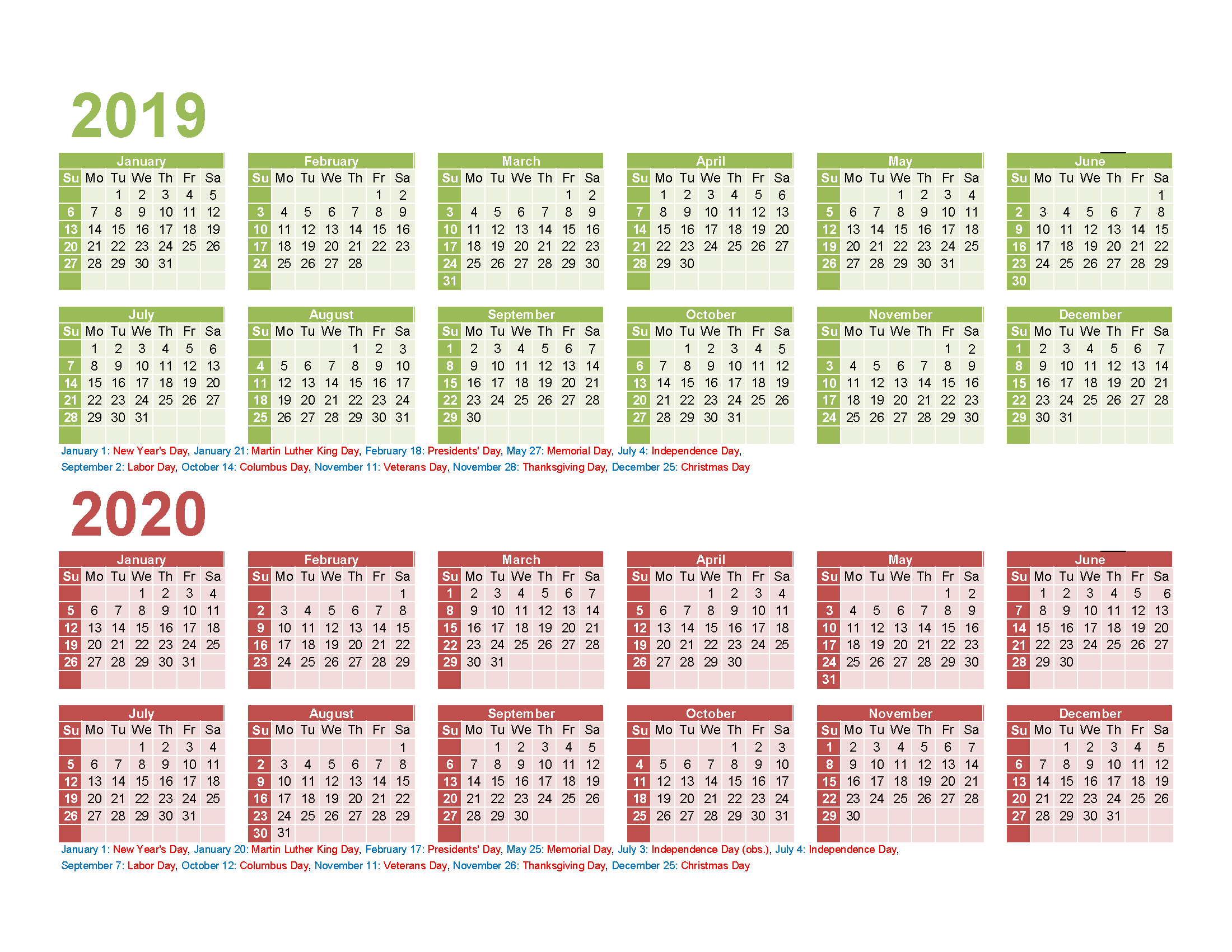 2019 2020 Printable Calendar with Holidays PDF, Excel