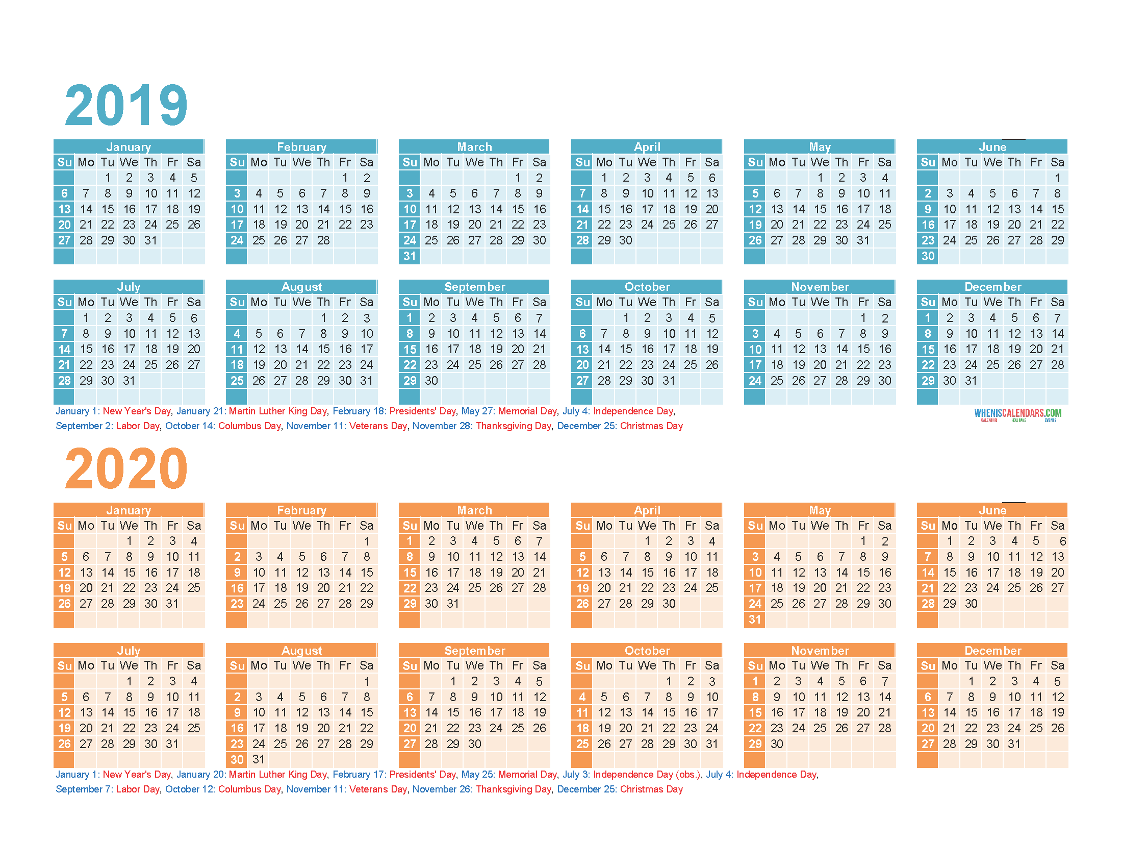 2019 and 2020 Printable Calendar with Holidays PDF, Excel