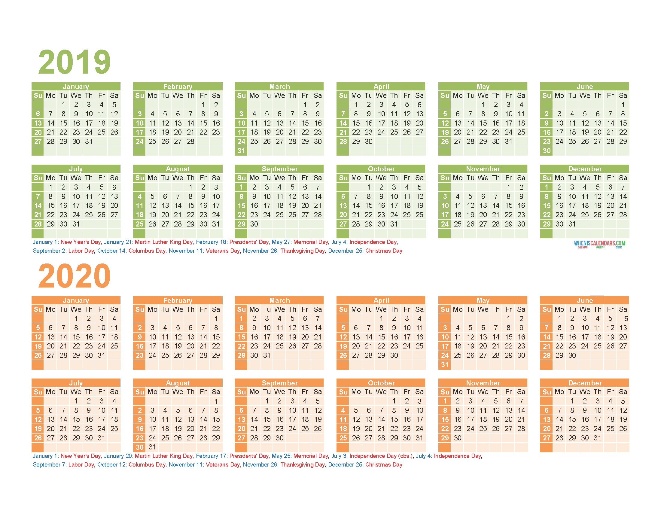 2019 and 2020 Monthly Calendar Printable Free Download