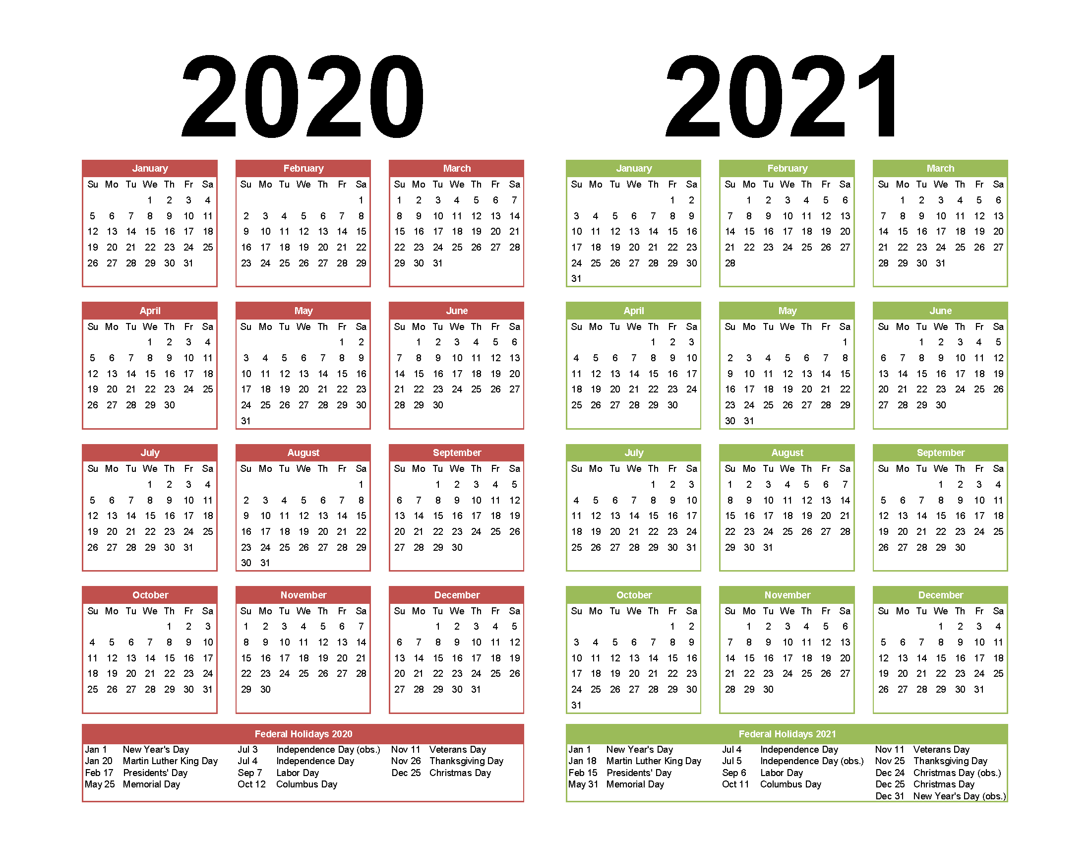 2 Year Calendar Printable 2020 2021 Word, PDF, Image