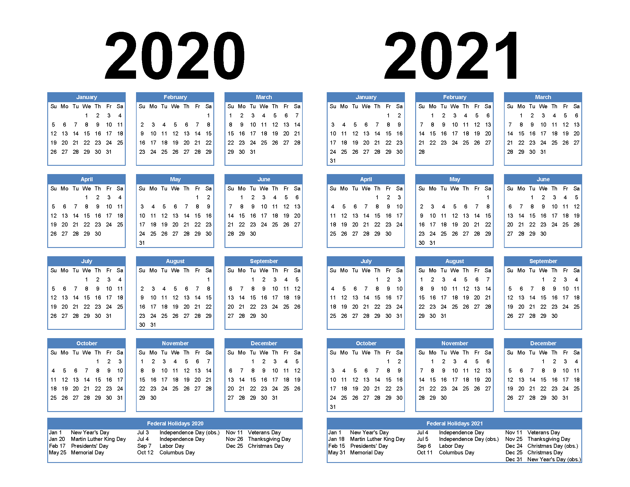 Free Printable 2020 and 2021 Calendar with Holidays PDF, Word