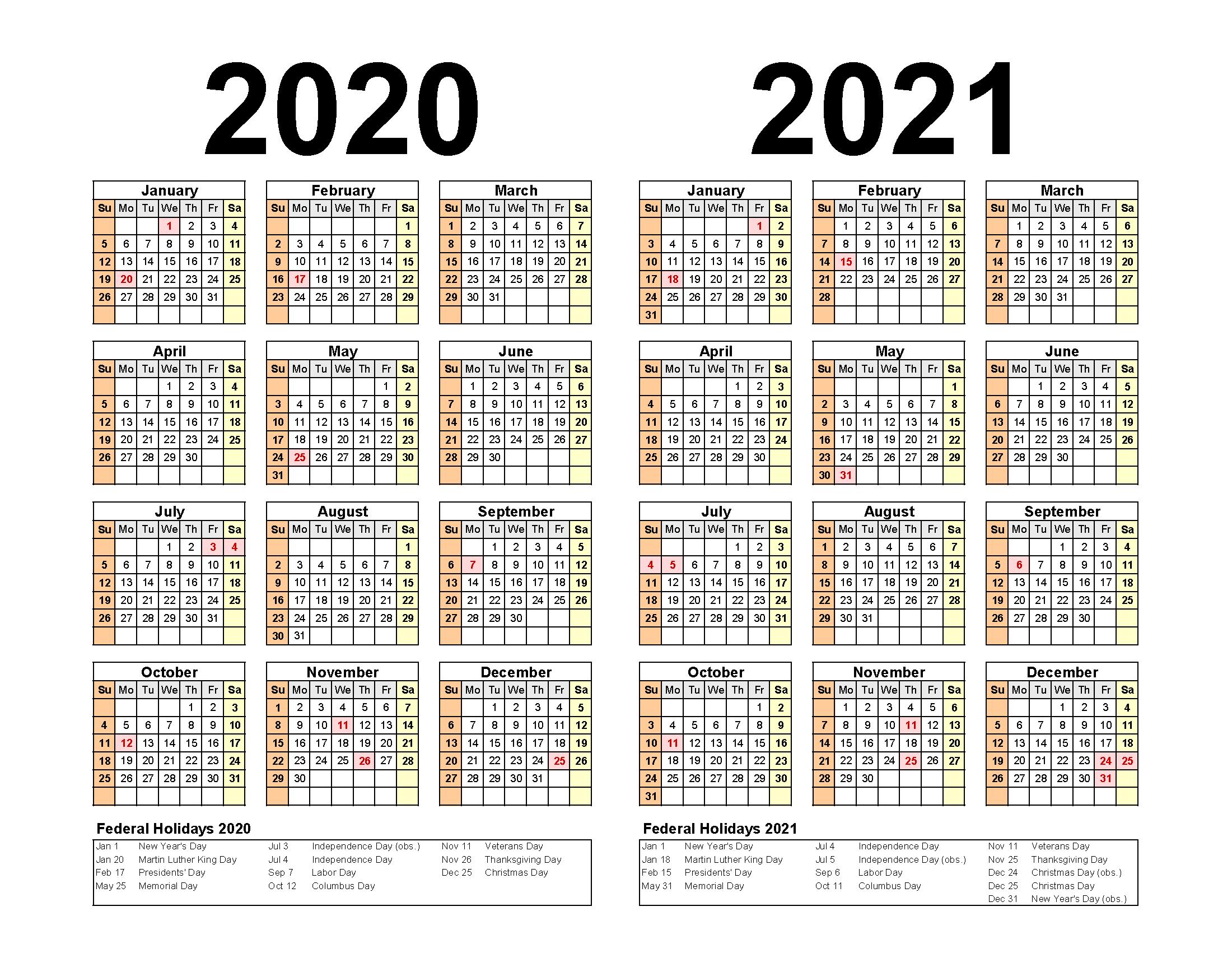 Free Printable 2020 2021 Calendar with Holidays PDF, Word ...