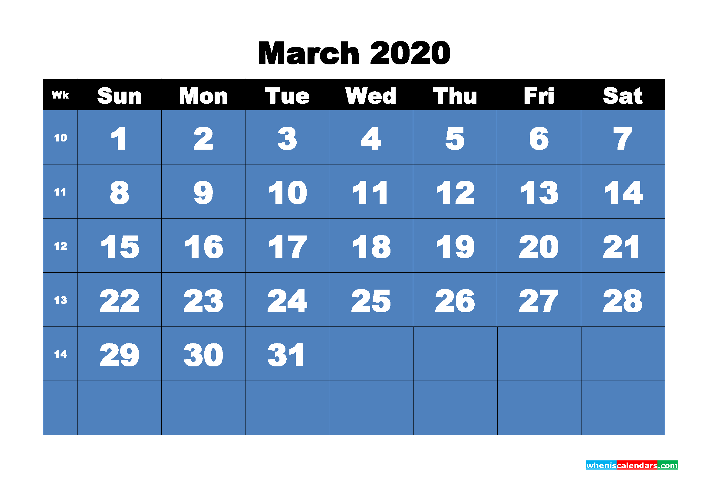 Printable 2020 Monthly Calendar with Week Numbers March