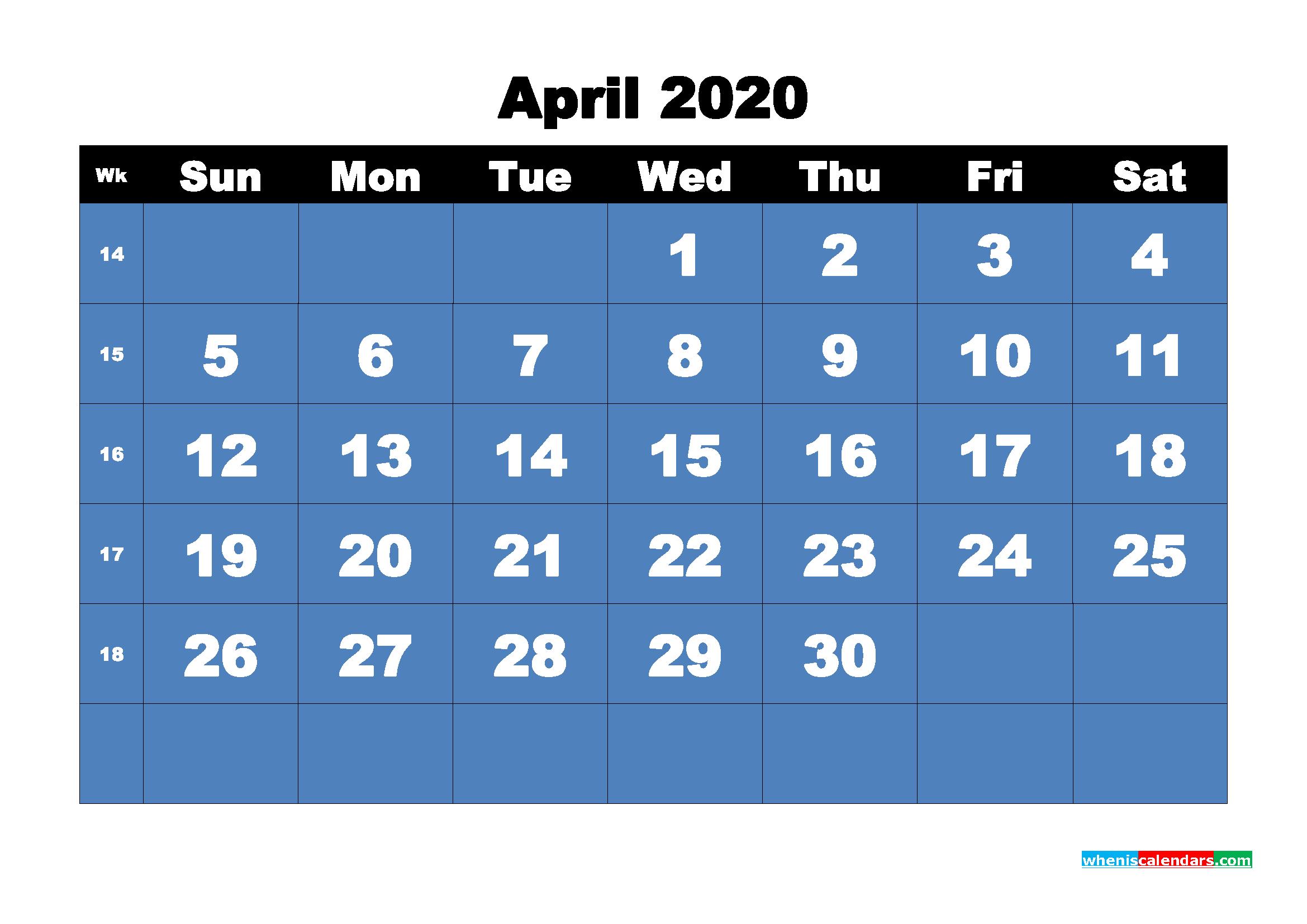 Free Printable Calendar April 2020 PDF, Word - No.m20b4