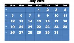 Free Printable Calendar July 2020 PDF