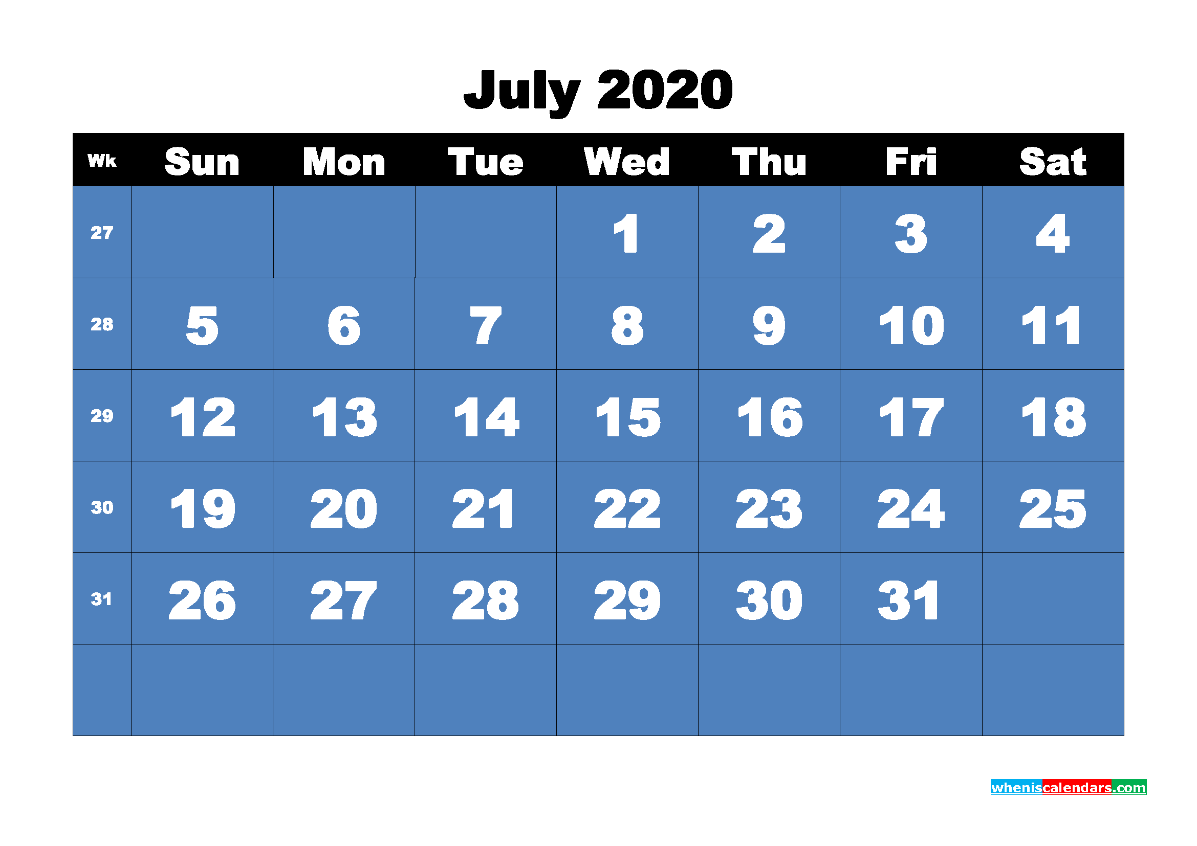 Free Printable Calendar July 2020 PDF, Word - No.m20b7