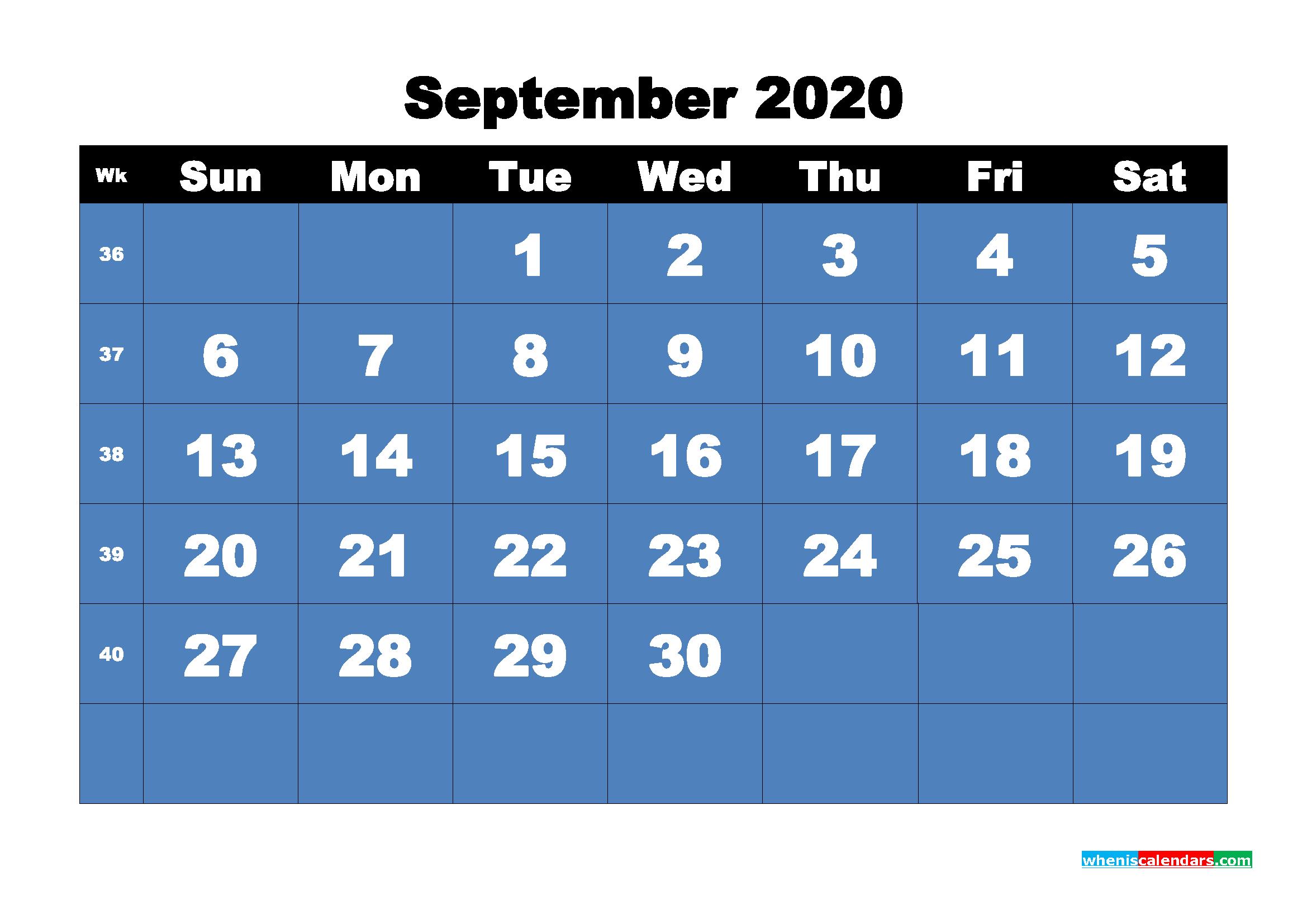 Free Printable Calendar September 2020 PDF, Word - No.m20b9
