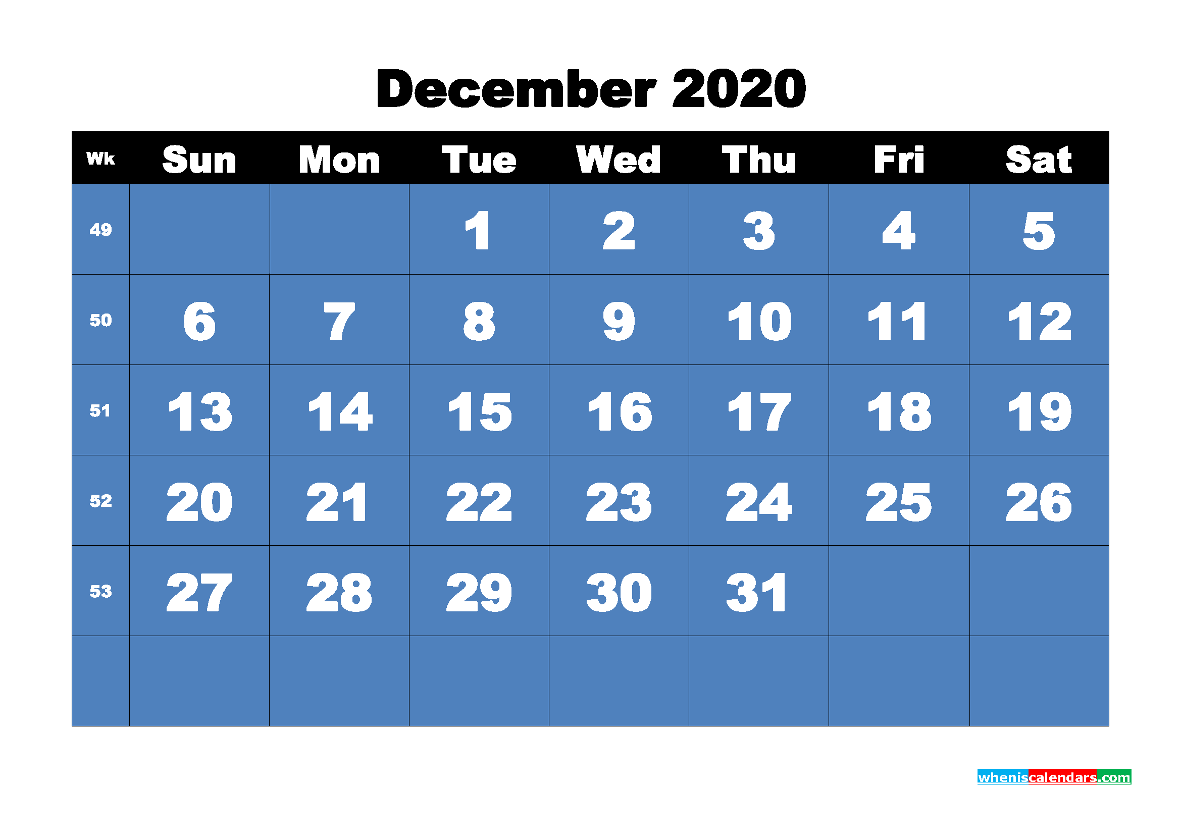 Free Printable Calendar December 2020 PDF, Word - No.m20b12