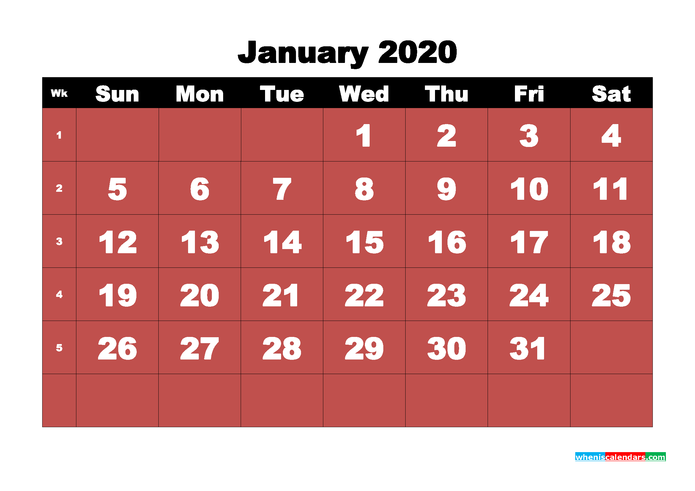 January Printable Calendar 2020 PDF, Word - No.m20b13