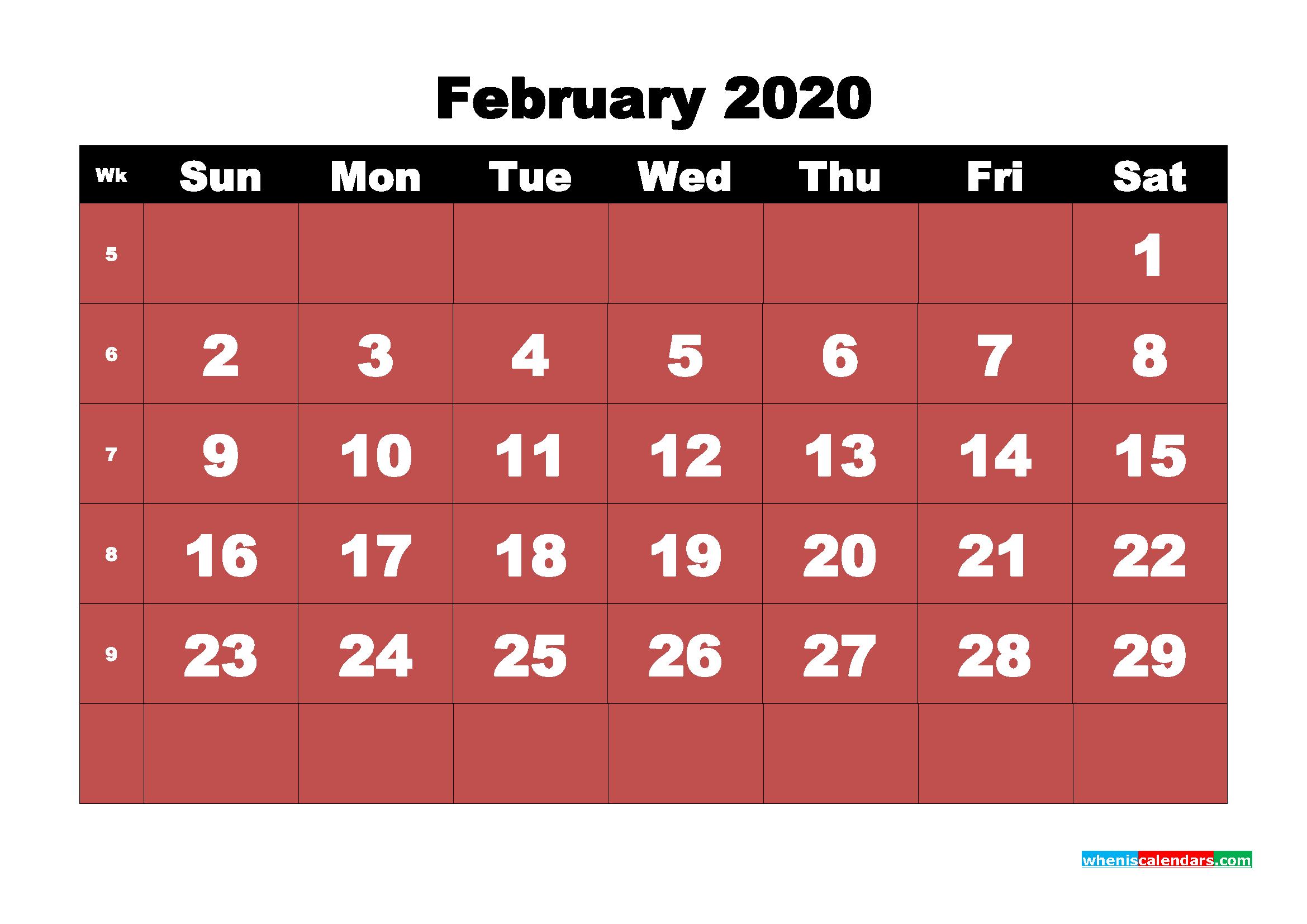 February Printable Calendar 2020 PDF, Word - No.m20b14