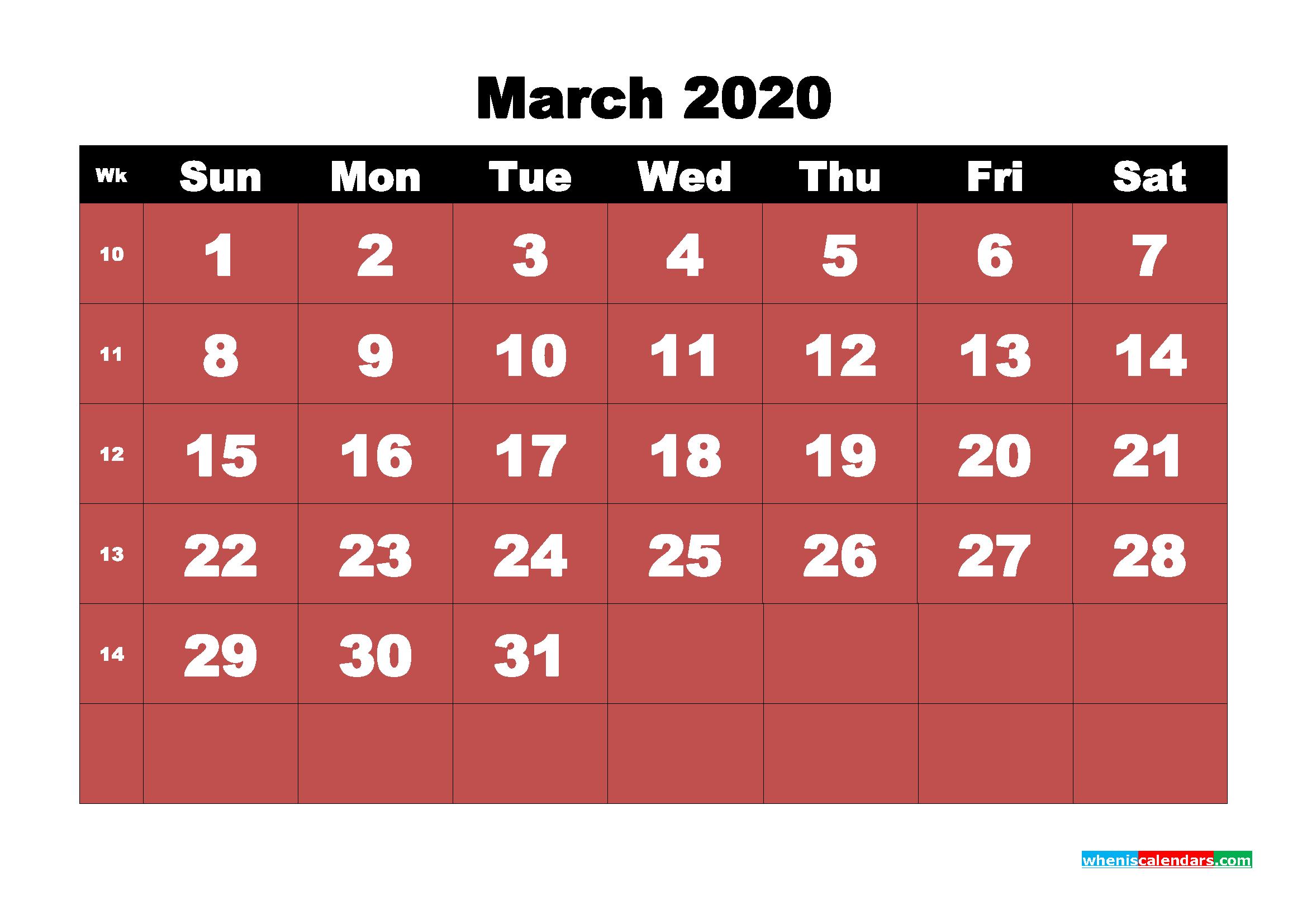 March Printable Calendar 2020 PDF, Word - No.m20b15