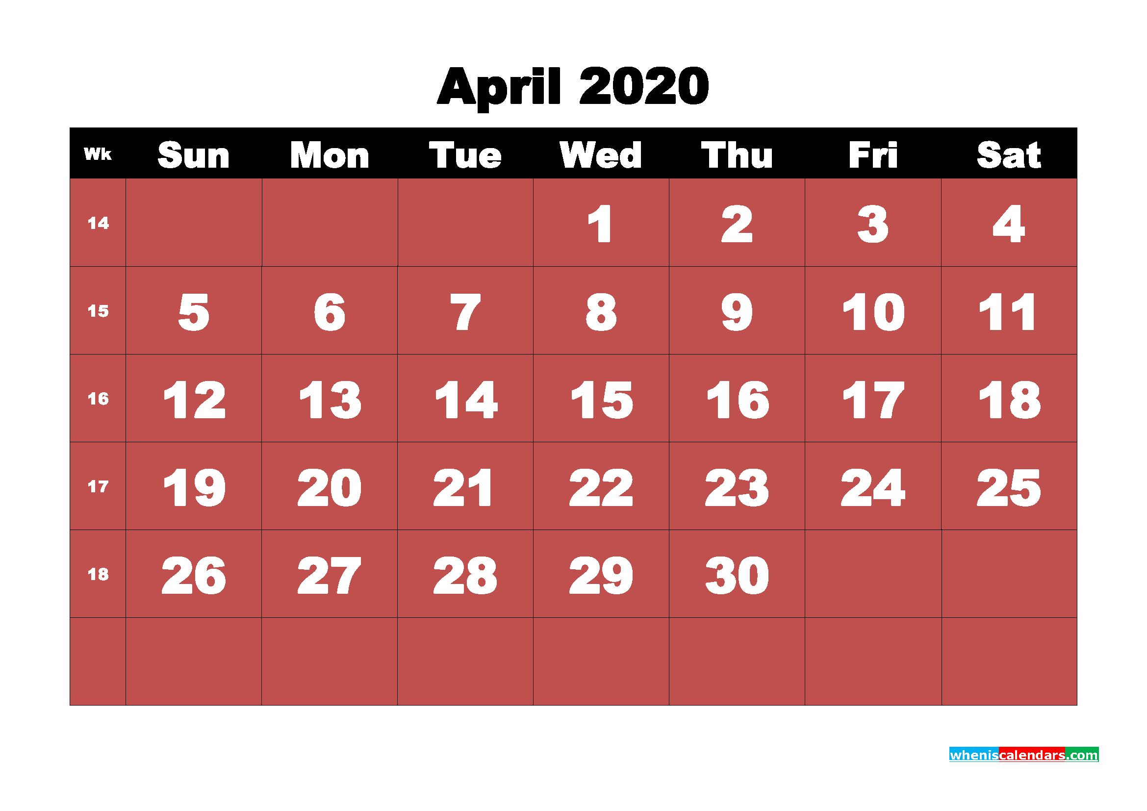 April Printable Calendar 2020 PDF, Word - No.m20b16