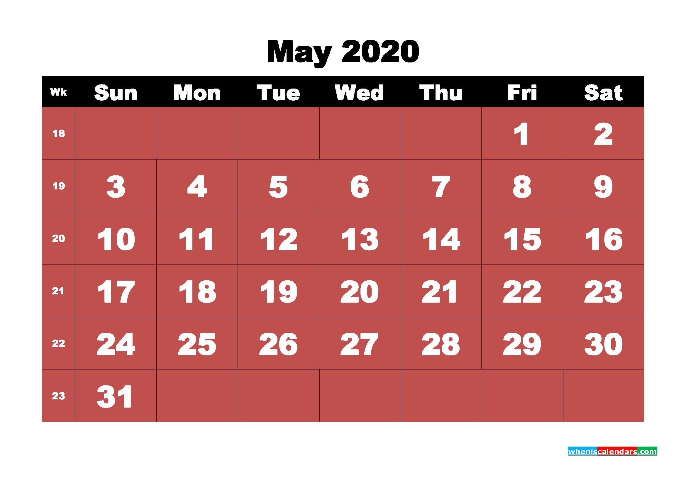 May Printable Calendar 2020 PDF, Word - No.m20b17
