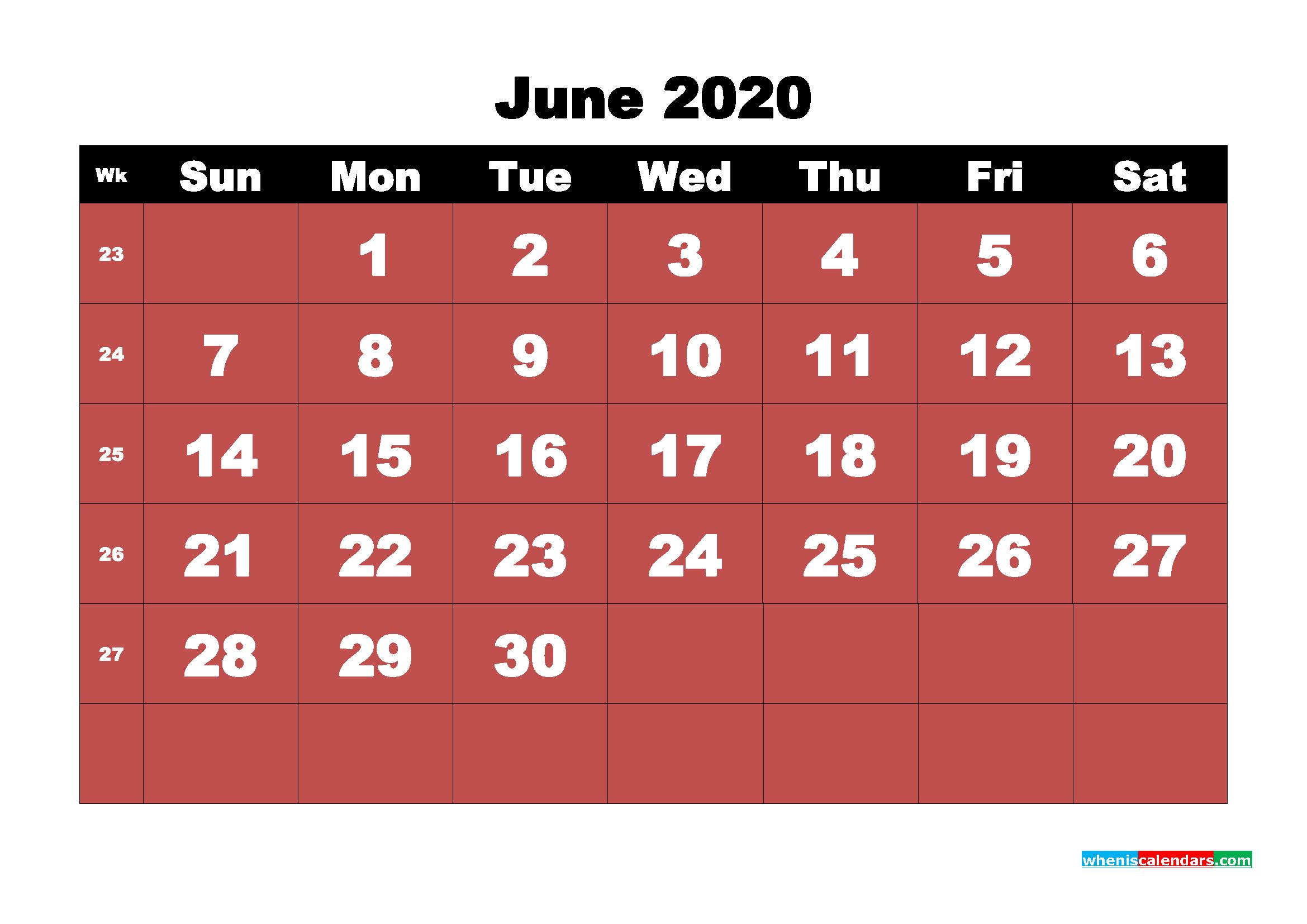 June Printable Calendar 2020 PDF, Word - No.m20b18